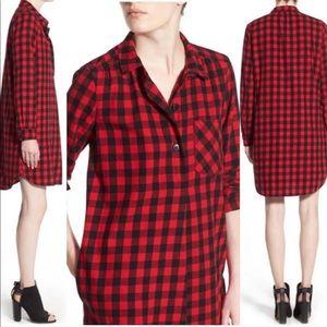 MADEWELL Latitude Buffalo Check Shirt Dress Red